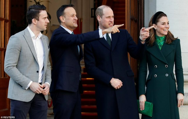 "They met Ireland's President Michael D. Higgins and Prime Minister Leo Varadkar and will attend a reception at the Guinness brewery, the country's top tourist attraction. Varadkar posted a picture on Twitter of William signing the visitor book in his office and said: ""It was a pleasure to welcome the Duke and Duchess of Cambridge to Government Buildings"""