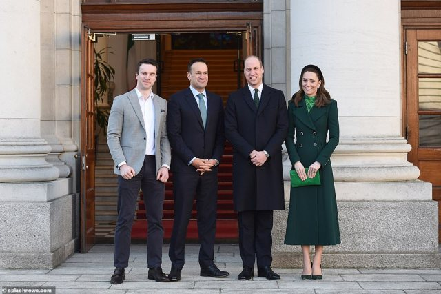 Dr Varadkar (pictured meeting William and Kate alongside his partner) is a caretaker Taoiseach after his Fine Gael party came third in last month's Irish elections in which Sinn Fein secured the largest share of the popular vote