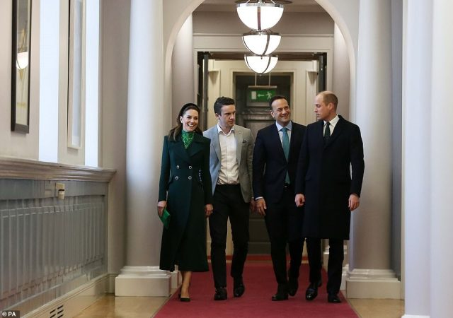 The duke and duchess met Leo Varadkar and his partner Dr Matt Barrett as they paid a formal call on the Irish leader as he limps on in office despite coming third in last month's election