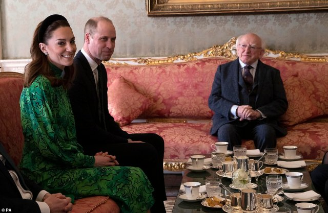 The Duke and Duchess of Cambridge meet with the President of Ireland, Michael D. Higgins at Aras an Uachtarain, Dublin, during their three day visit to the Republic of Ireland