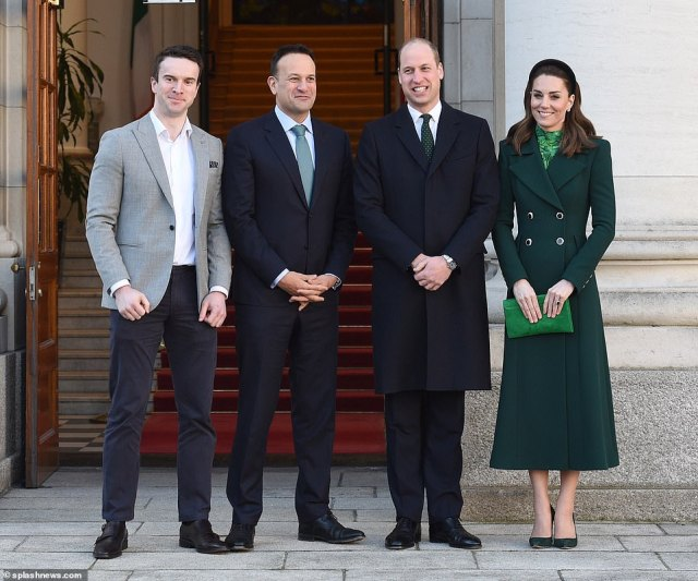 The Duke and Duchess of Cambridge meet with the Taoiseach of Ireland Leo Varadkar at Government buildings in Dublin, Ireland