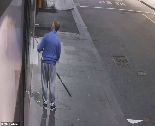 In the CCTV footage, the balding man in grey track pants and a blue Lonsdale windcheater can be seen carrying a fishing rod as he approached the store at 2am