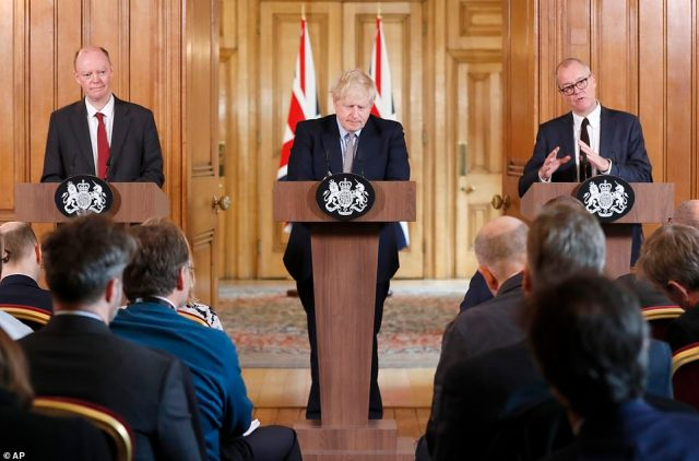 Chief Medical Officer Chris Whitty (left, alongside the PM and Chief Scientific Adviser Patrick Vallance) yesterday said he expected the spread to be 'probably a lot lower' than the worst-case scenario in which eight in ten could get it