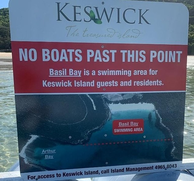 The developer installed a sign in the water of Basil Bay prohibiting boats from entering