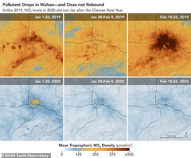 Pictured, six maps from NASA focusing on Wuhan reveal the concentration of nitrogen dioxide over three periods including before Lunar New Year, during celebrations and after the festivities in 2019 and 2020