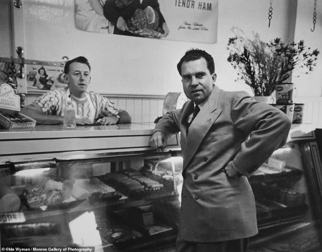 Wyman snapped this photo of Richard Nixon standing in a Los Angeles deli when she was dispatched to cover the 1950 California senate race between Helen Gahagan Douglas and the future President.