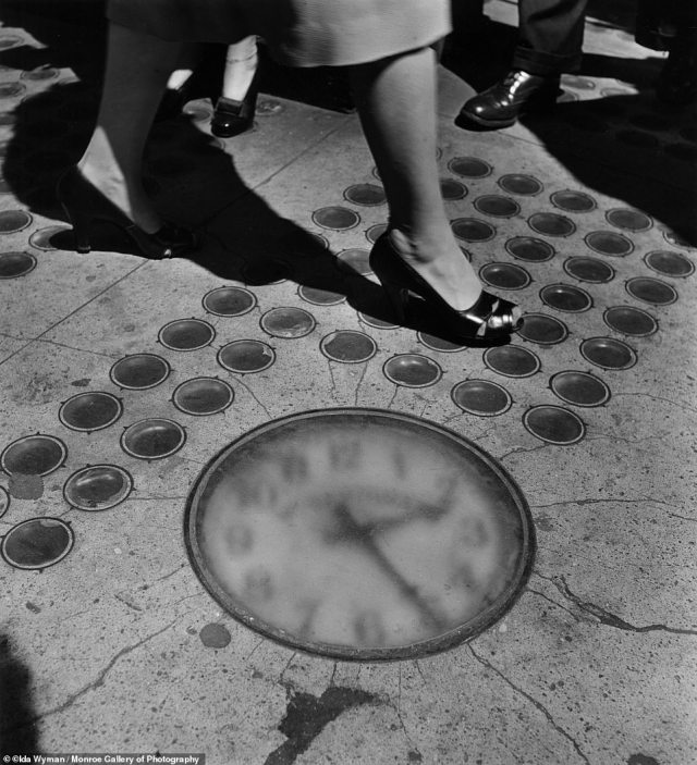 Sidewalk Clock, New York, 1947. 'I saw the street more clearly carrying the camera, becoming more aware of the sun forming interesting textures and designs on the varied architecture,' wrote Wyman in her 2014 memoir.