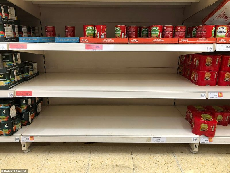 Soup shelves had been cleared in a Sainsbury's branch in Crayford, London, on Friday
