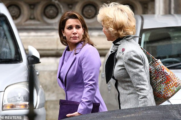 Princess Haya bint Al Hussein, the wife of Dubai's Sheikh Mohammed bin Rashid Al Maktoum, and her lawyer Baroness Fiona Shackleton arrive at the High Court in London, Britain, February 28, 2020