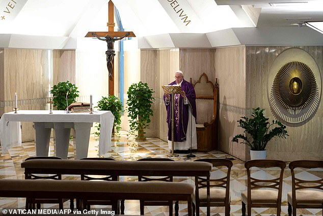 This morning the Pope celebrates Mass in an empty chapel, a week after the 83-year-old pontiff canceled a series of events on health fears