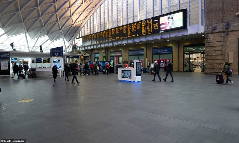 Kings Cross Station - the gateway to London from the north of England and east coast Scotland - was quiet as people worked from home