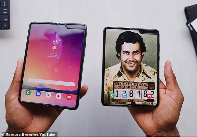 Designed by Roberto Escobar, Pablo's brother, the smartphone claims to be a 'real Samsung (left) at a fraction of the cost, as it sells for $350 while Samsung's is around $1,500
