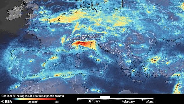 When measured in January the Nitrogen Dioxide levels in the atmosphere over northern Italy were notably higher than in March