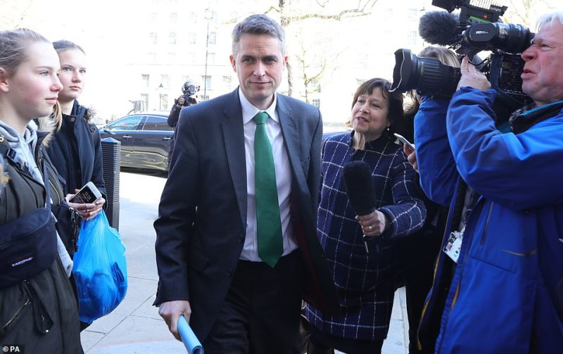 Education Secretary Gavin Williamson arrives at the Cabinet Office in London, March 12