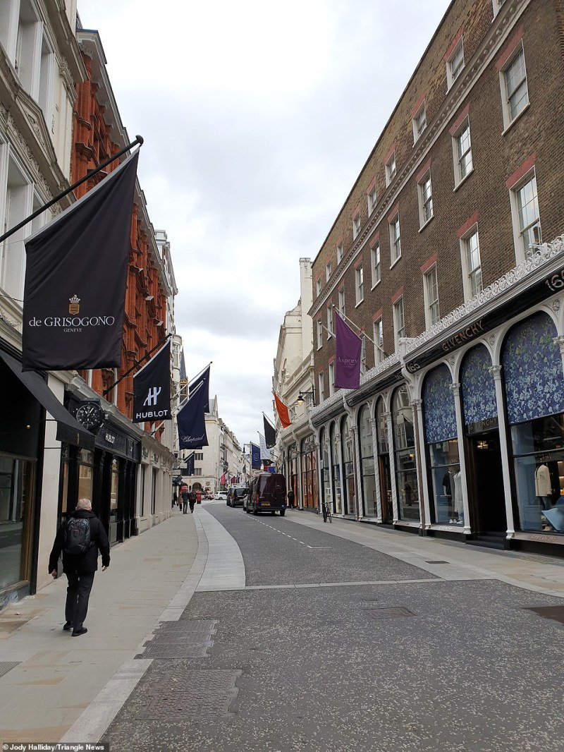 Old Bond Street only had a smattering of people walking along it as shoppers and tourists stayed away today