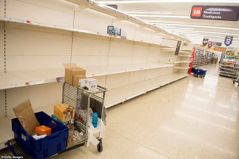 Shelves have been completely stripped across the country, with this Sainsbury's store in London looking bare