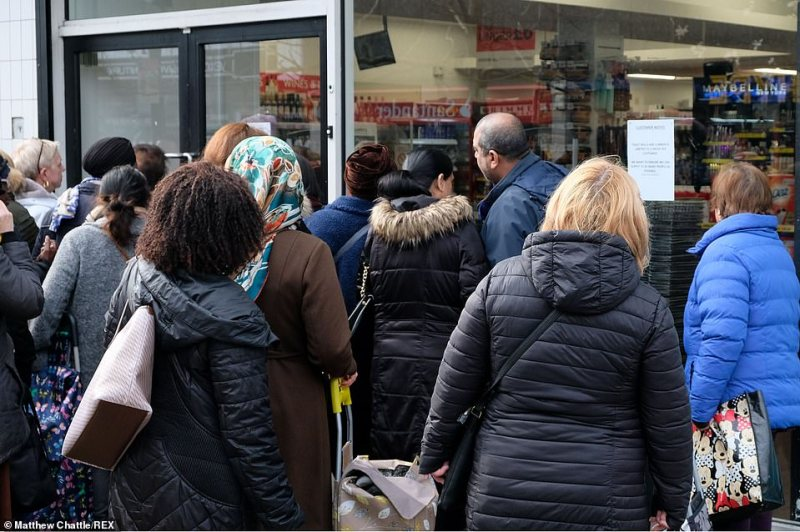 Food retailers have urged customers to shop responsibly during the coronavirus outbreak as shelves are left stripped of goods. Pictured: Wood Green's Savers