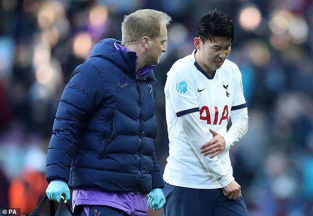 Son Heung-min suffered a painful arm injury during Tottenham's victory over Aston Villa