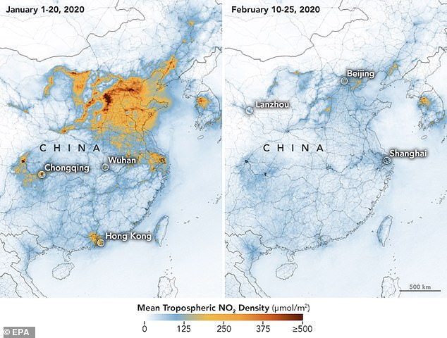These NASA maps shows the concentrations of nitrogen dioxide (NO2) over China between 01 January 2020 (left) and 25 February 2020 (right)