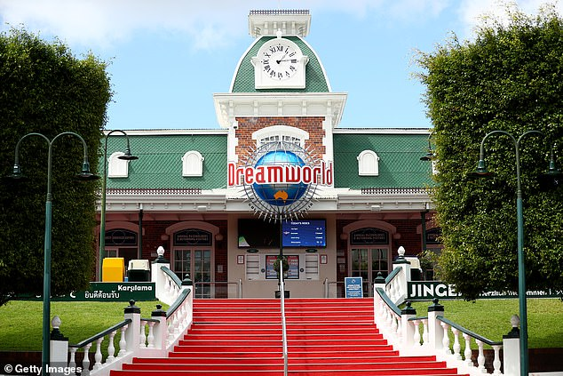 Usually bustling with excited families, Dreamworld on the Gold Coast looked like a ghost town on Tuesday (pictured)