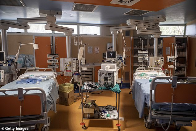 An intensive care ward is pictured inside one of Italy's purpose-built coronavirus hospitals in Rome