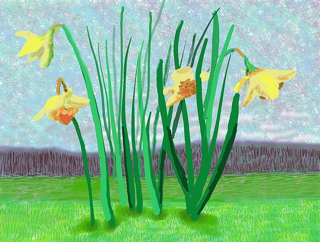 David Hockney has unveiled a new painting which features bright yellow daffodils in front of a gloomy grey mass (pictured)