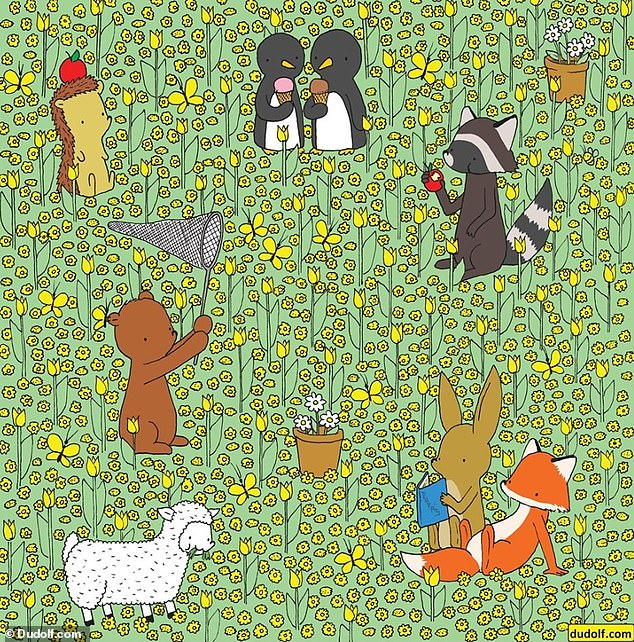 Another brainteaser,created by illustrator Gergely Dudás from Hungary, is challenging the nation to spot a bee hiding among a field of flowers and animals (pictured)