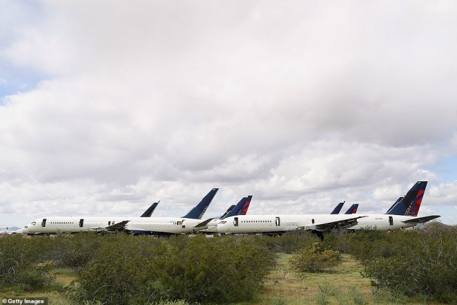 Decommissioned and suspended commercial aircrafts are seen stored in Pinal Airpark. Most aging aircraft that touch down at the airpark will never take to the skies again and the skeletons of many old models can be found laid out in the sun