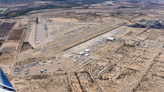 An aerial view of Penal Park in Arizona taken two years ago, showing the rows of decommissioned planes
