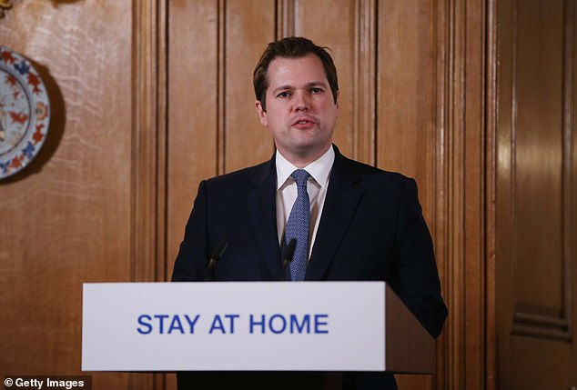 Secretary of State for Housing and Communities, Robert Jenrick, revealed that millions of antibody tests will be brought into the UK 'in the coming weeks' (Pictured, Mr Jenrick at a briefing at Downing Street)
