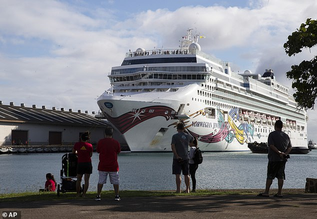 The Norwegian Jewel cruise ship docks in Honolulu Harbor on Sunday afternoon. Most of its 2,000 passengers are Australian and none tested positive for coronavirus