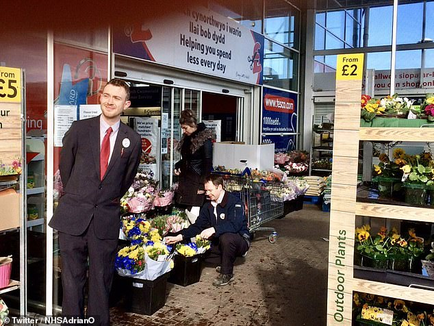 One social media user posted this picture of a Tesco store in Newtown today, the store had been giving flowers to workers