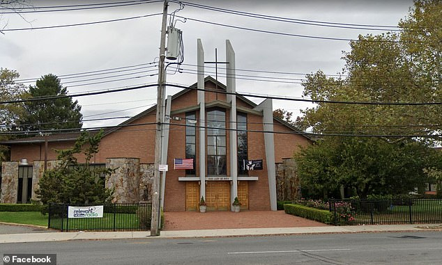 The loved-up pair celebrated their nuptials at Our Lady of Pity Catholic Church (pictured) in Staten Island on Sunday