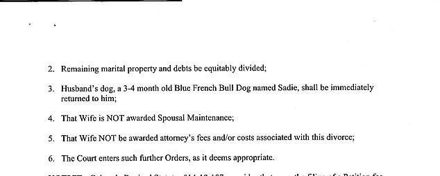 Stauch, a member of the Colorado National Guard, also demanded the couple's French Bulldog, Sadie, be immediately returned to him and said he had no intention of paying Letecia spousal support in divorce documents (pictured)