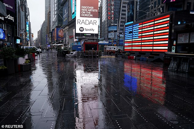 Since the lockdown, the once bustling streets, like those around Time Square, are now empty