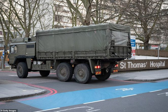 Members of the 101 Logistic Brigade arrive in a military lorry to deliver a consignment to St Thomas' hospital, which sits across the Thames from Parliament in South London