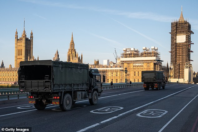 Military vehicles cross the Westminster Bridge after members of Logistic Brigade 101 delivered an expedition of medical masks to St. Thomas Hospital on March 24,