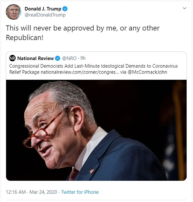 'This will never be approved by me!' he asserted in another tweet of the Democrats trying to include measures like setting new emissions standards for airlines and giving tax incentives to companies that use wind and solar energy
