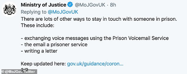 In a statement on Twitter the Ministry of Justice said they had suspended all prison visits in England and Wales