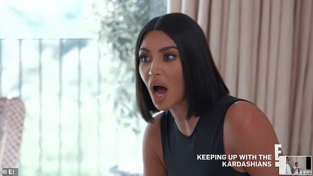 Furious:Kourtney then makes for the door with Kim screaming 'Just get the f*** out of here, I Don't even want to see your f***ing face.'