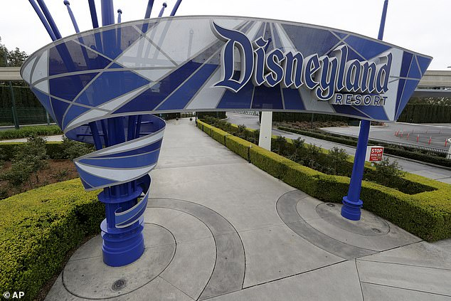One of the normally bustling entrances to the Disneyland resort is vacant due to the coronavirus closure in Anaheim, California, on March 16. Disney's stocks have plummeted