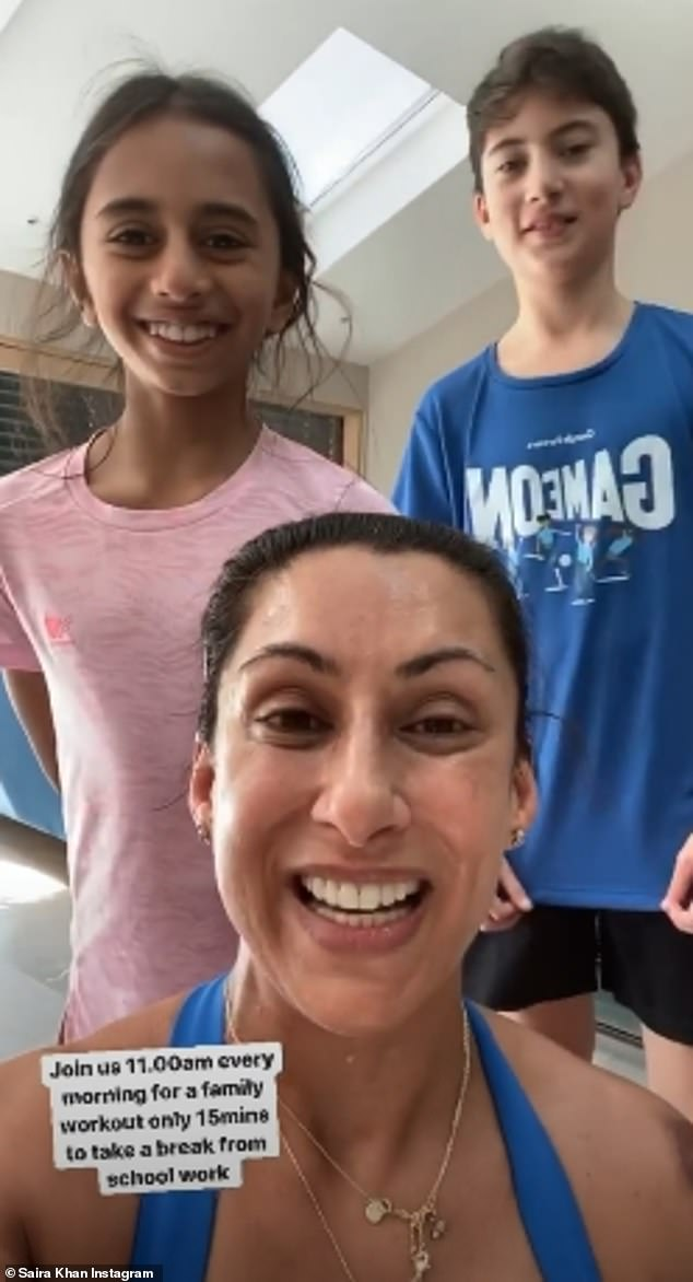 Working [out] from home! Saira is certainly making progress, taking to her stories on Tuesday to take part in a work out with her children from home