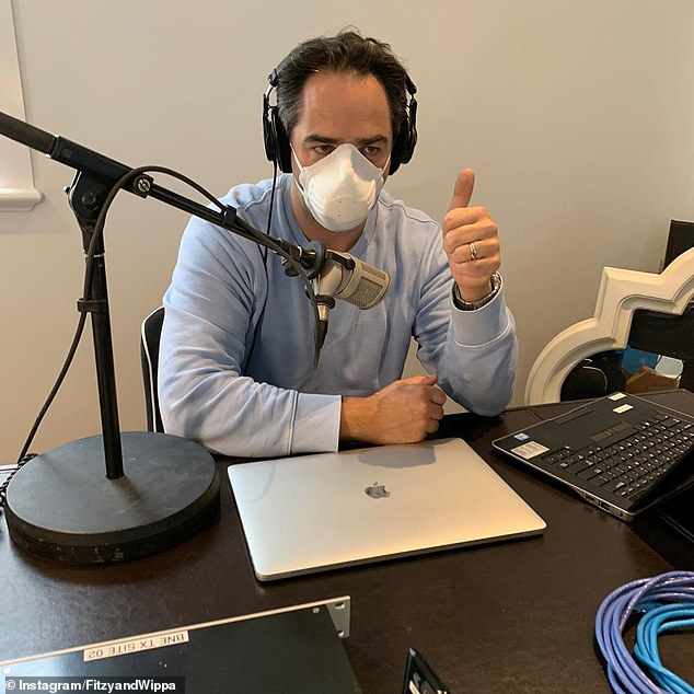 Thumbs up!The baby announcement comes after the entire Nova FM tested negative for coronavirus last week. Pictured: Michael broadcasting from home