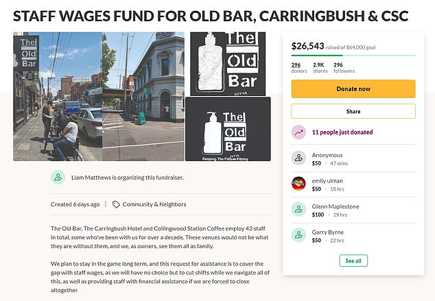 The Old Bar, The Carringbush Hotel and Collingwood Station Coffee co-owner Liam Matthews said donations will go toward wages for bar staff, kitchen hands, chefs and baristas, while owners will foot the rest of their pay