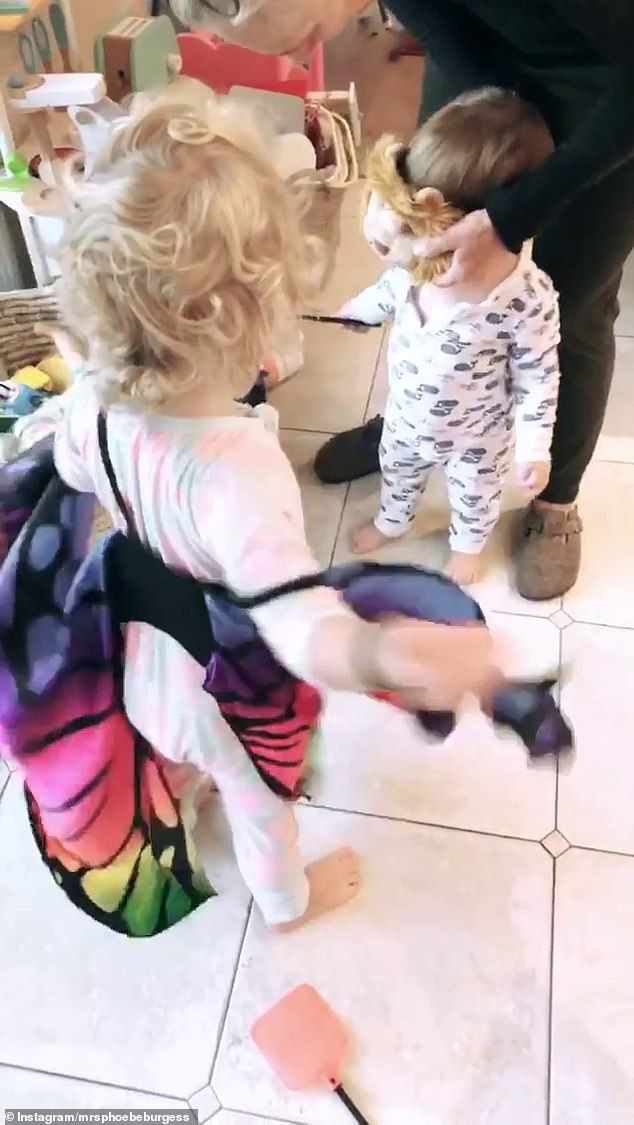 Phoebe has been doing her best to keep her two toddlers occupied and entertained during the time spent together as a family