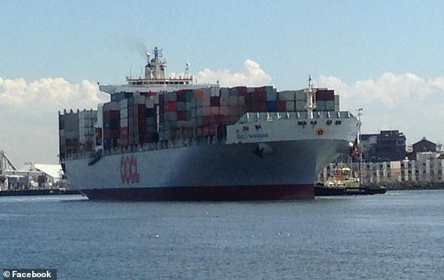 DP World Australia in Melbourne operates the terminal where stevedores last night were forced to board the OOCL Shanghai (pictured) that had only 11 days earlier sailed from Taiwan. It had been in China earlier