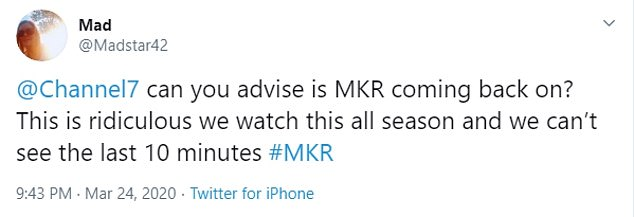 'This is ridiculous we watch this all season and we can't see the last 10 minutes!'Dozens of viewers took to social media to complain about the delay