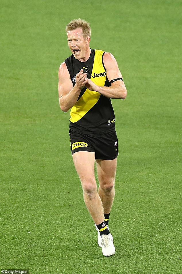 Jack Riewoldt hit back at comments that AFL players were being selfish (Pictured: celebrating kicking a goal during the round 1 AFL match on March 19, 2020)