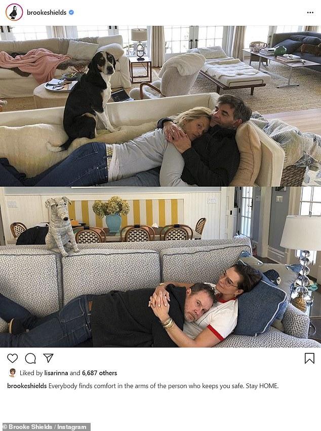 Gender swap! Brooke Shields and her husband Chris Henchy parodied Ali Wentworth's photo