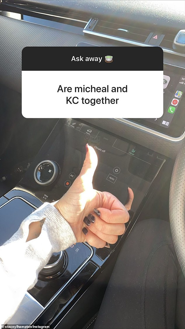 That's confirmation: Stacey simply gave a thumbs-up to indicate the couple were still together